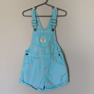 OshKosh Mint with Pink Pineapple Overalls